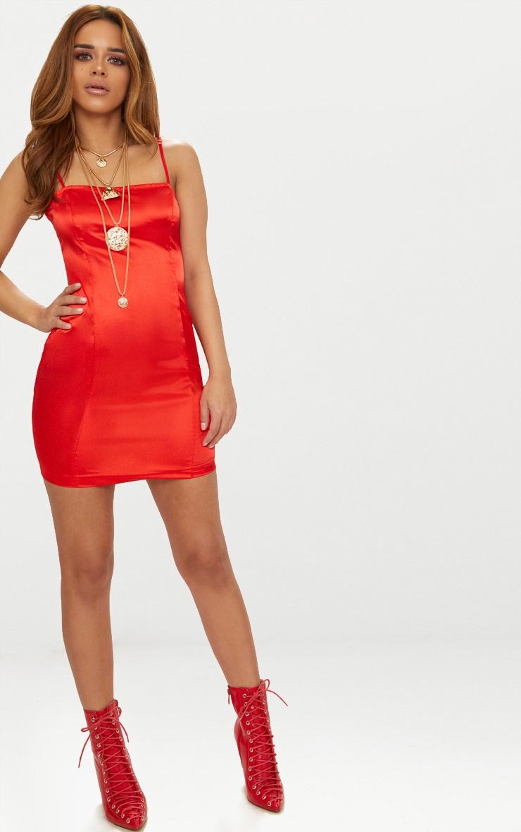 Petite Red Satin Strappy Straight Neck Bodycon Dress 4