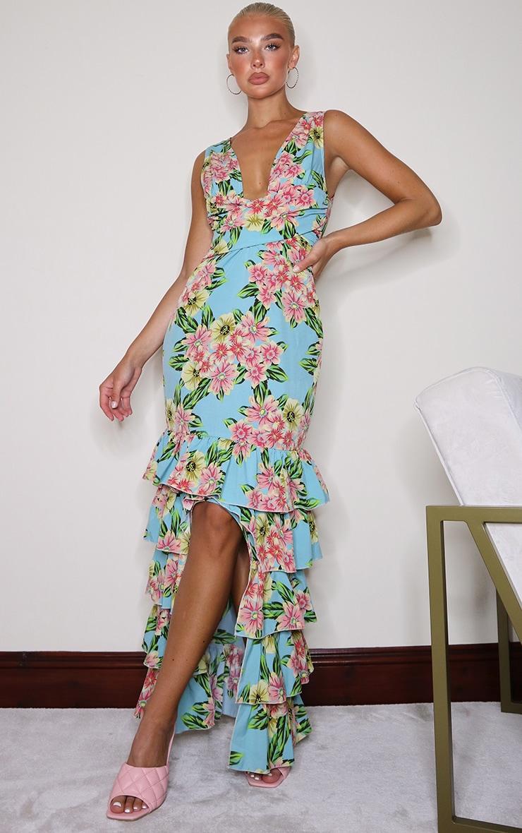 Blue Floral Plunge Ruffle Hem Maxi Dress 1