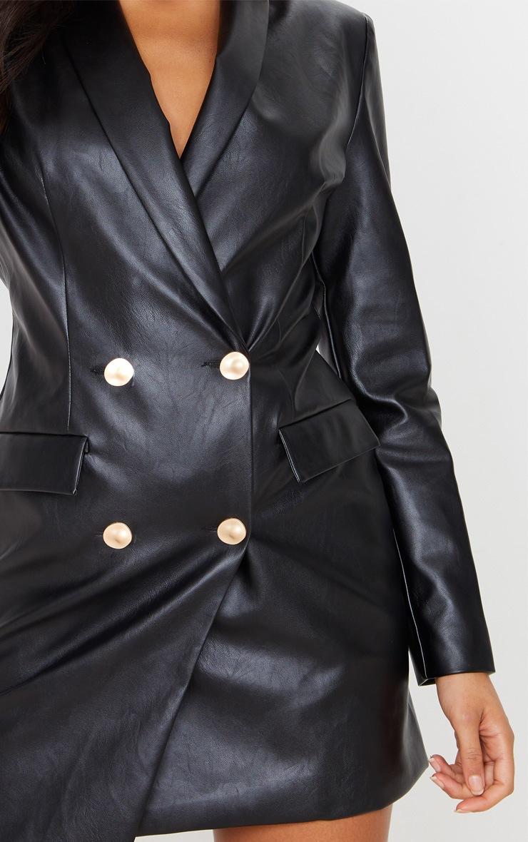 Black PU Gold Button Long Sleeve Blazer Dress 5