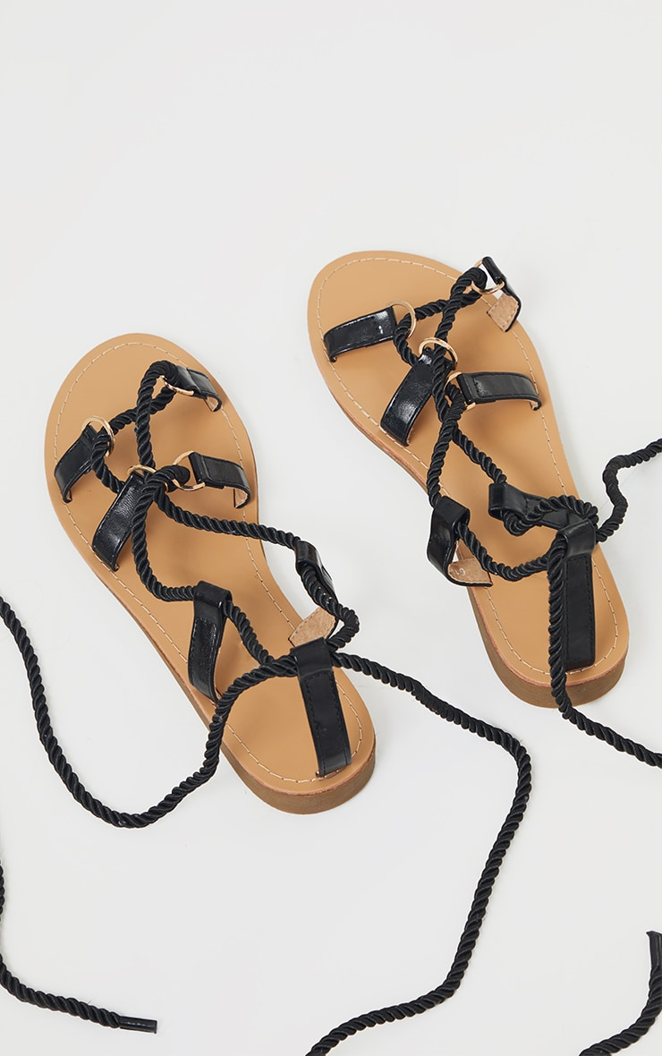 Black Rope Lace Up Flat Sandals 3