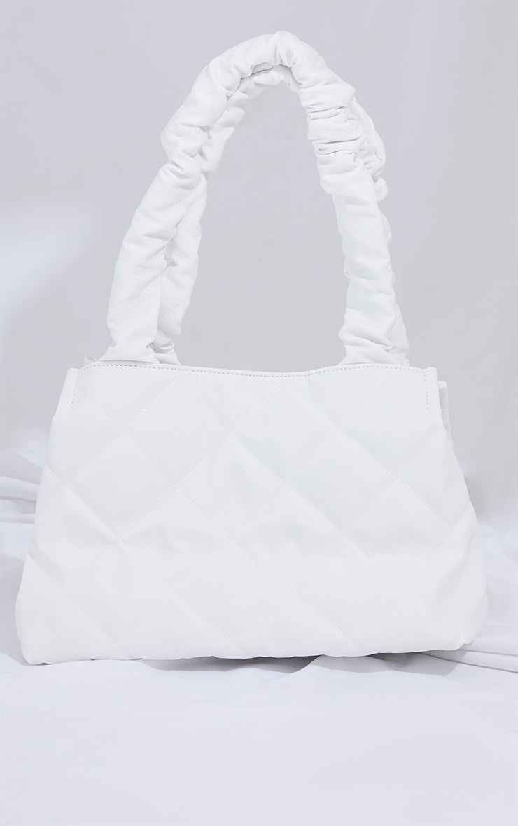 White Ruched Oversized Tote Bag 2