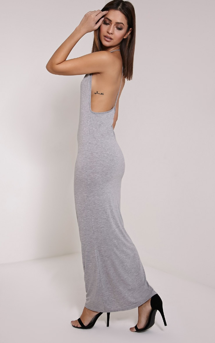 Basic Grey Marl T Bar Back Maxi Dress 1