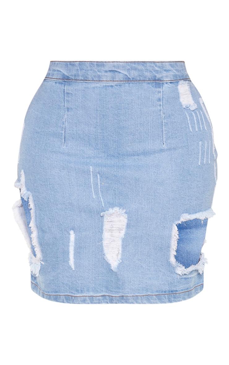 Shape Light Wash Distressed Denim Mini Skirt 3