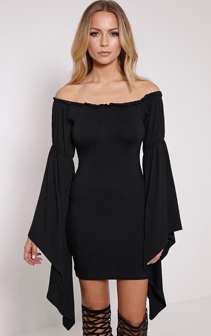 Calla Black Extreme Flare Bardot Bodycon Dress 1