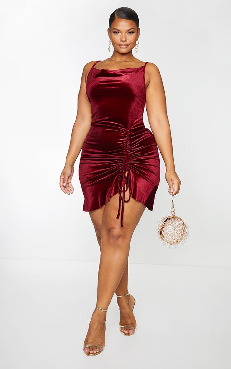 Plus Burgundy Velvet Strappy Ruched Frill Hem Bodycon Dress 1
