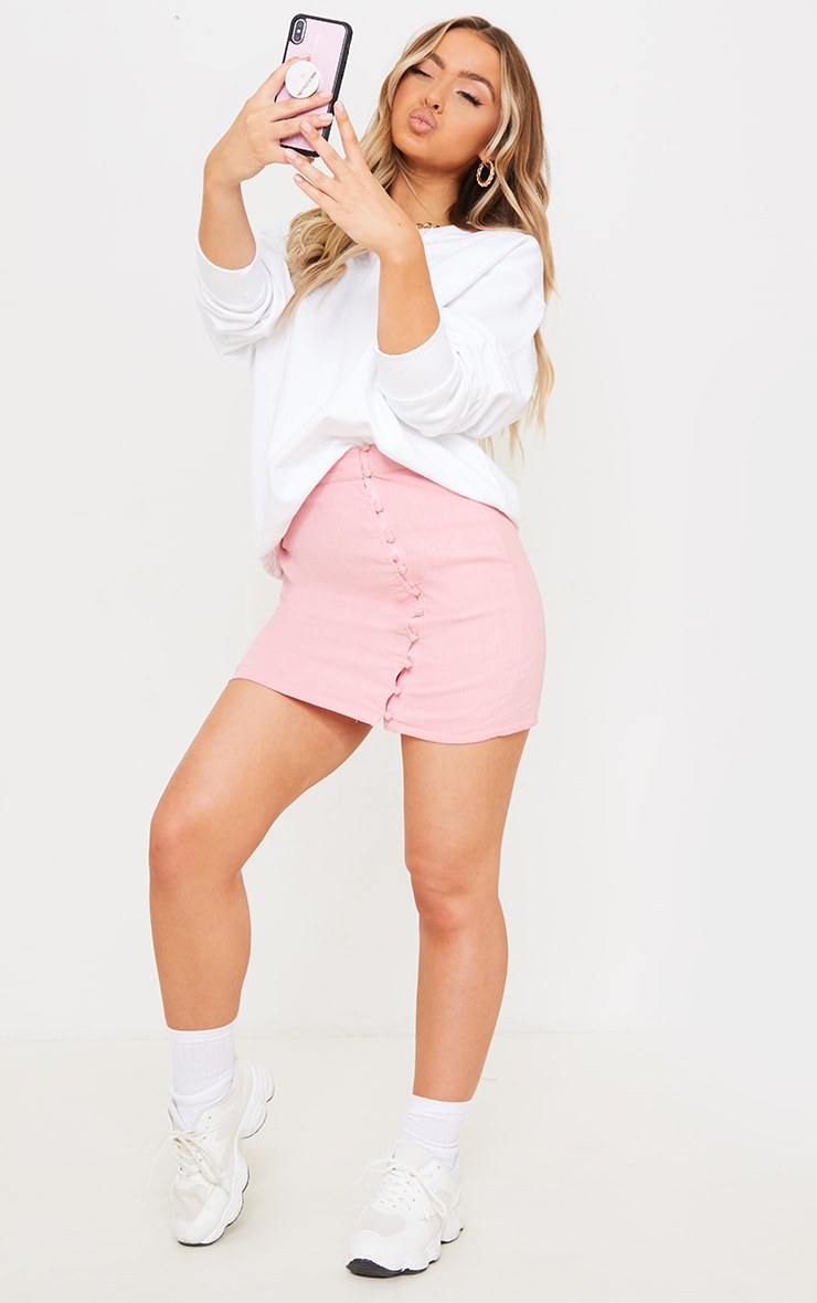 Pink Textured Button Detail Mini Skirt 4