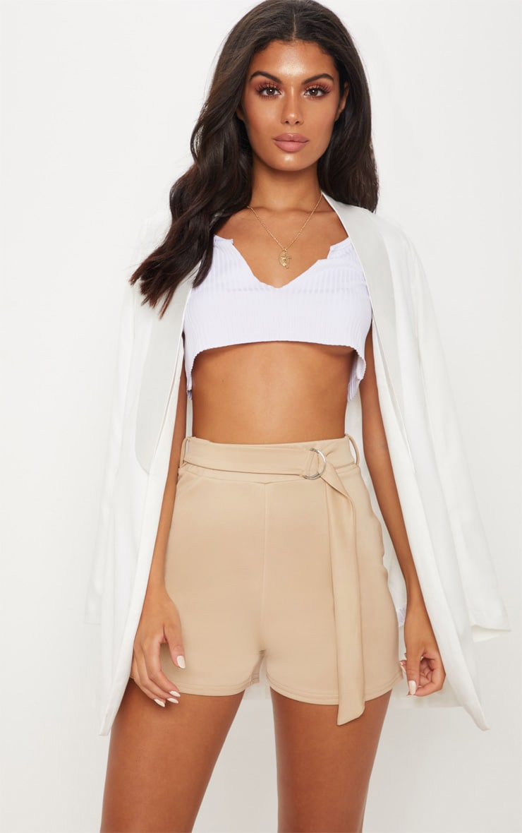 Stone D Ring Belted Waist Short