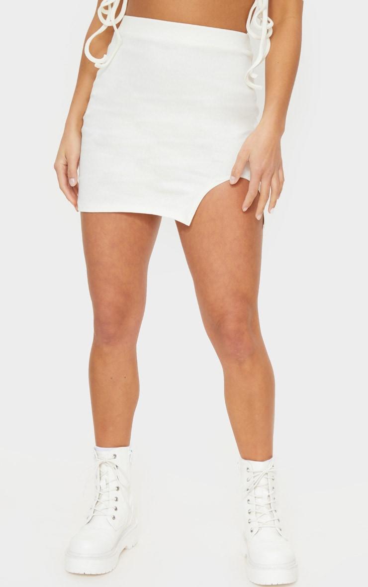 Petite Cream Cotton Jersey Mini Skirt 2