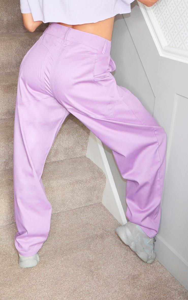 Lilac Contrast Stitch Cargo Pants 3