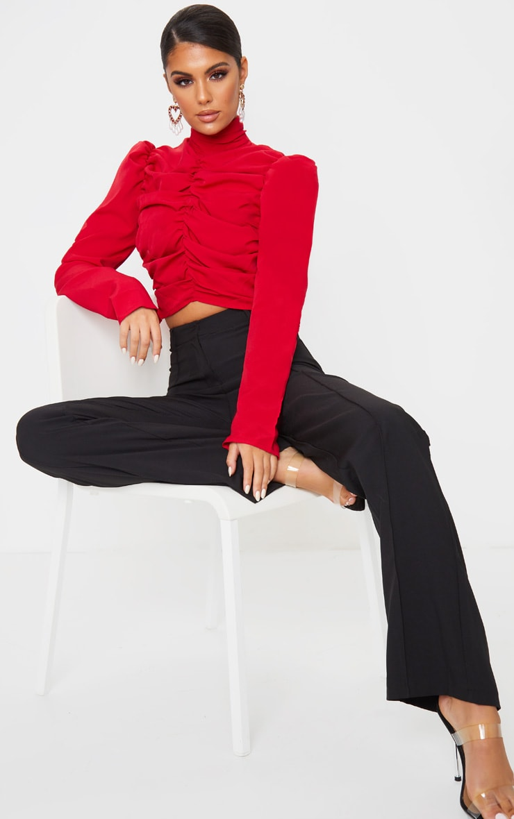 Red Ruched High Neck Crop Top 3