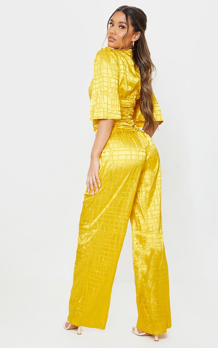 Chartreuse Satin Jacquard Short Sleeve Ruched Jumpsuit 2