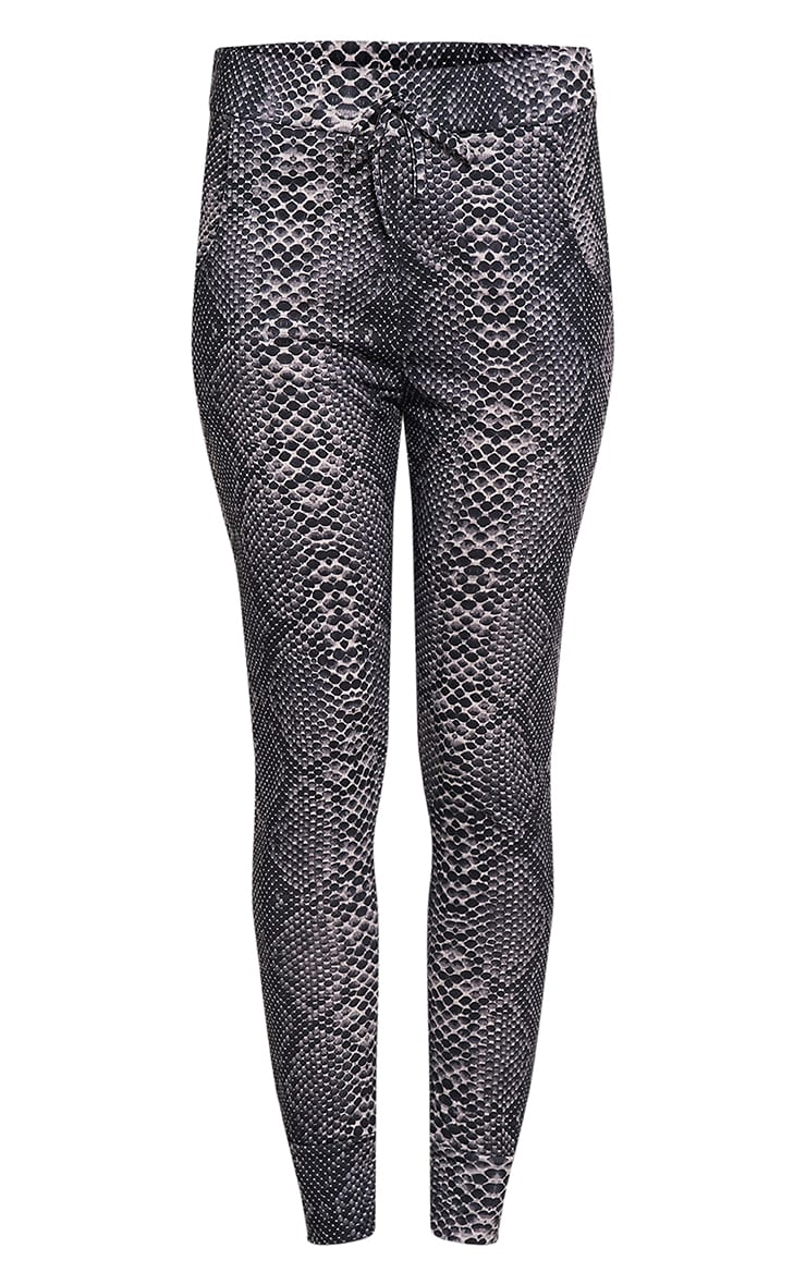 Tayah Grey Snake Print Fitted Joggers 3