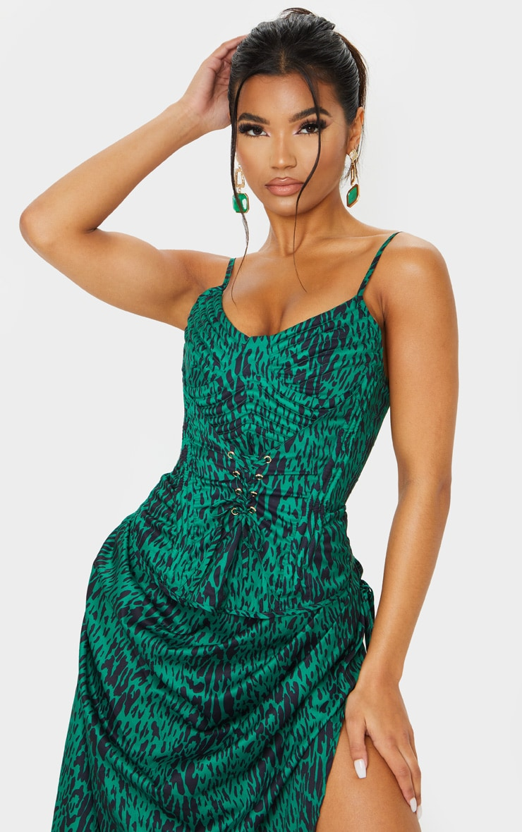 Green Leopard Print Strappy Quilt Detail Corset 1