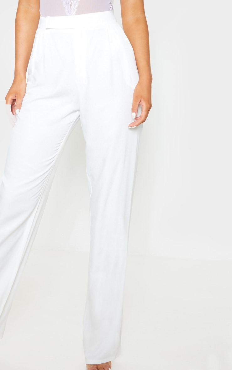 White Woven Pleat Detail Straight Leg Pant 4