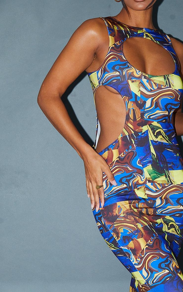Blue Abstract Print Slinky Waist Cut Out Sleeveless Midaxi Dress 4
