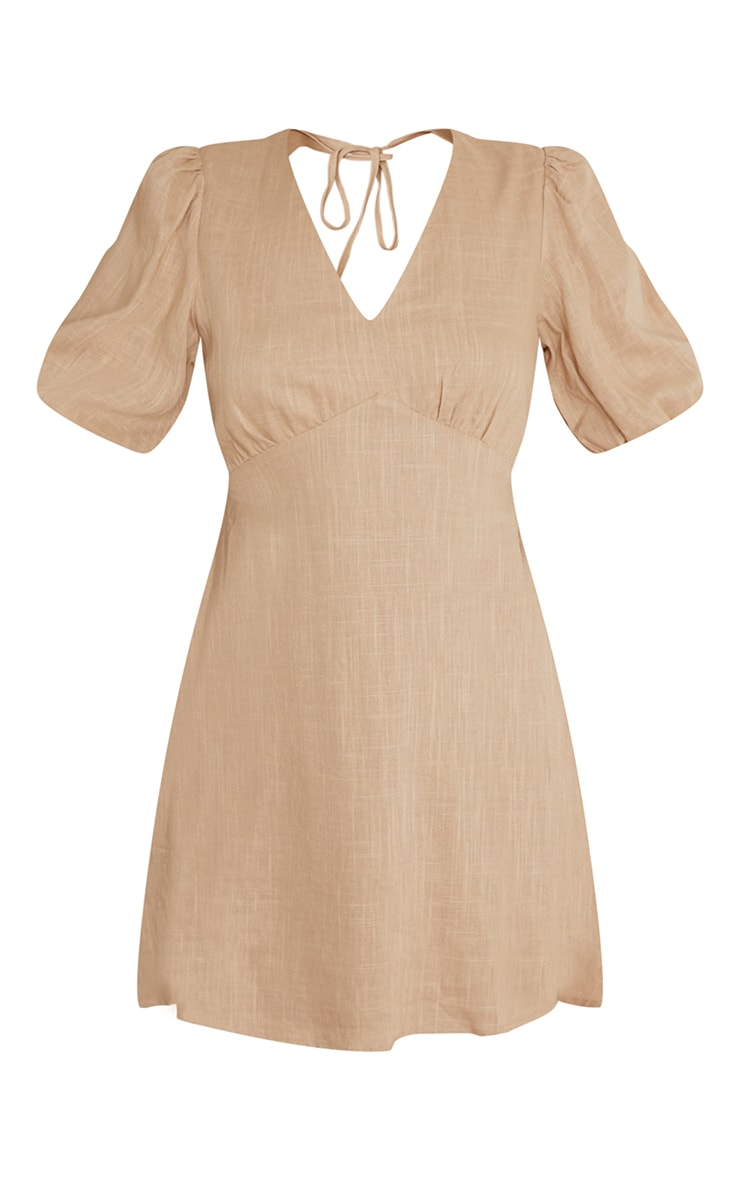 Stone Linen Look Tie Backless Detail Puff Sleeve Shift Dress 5