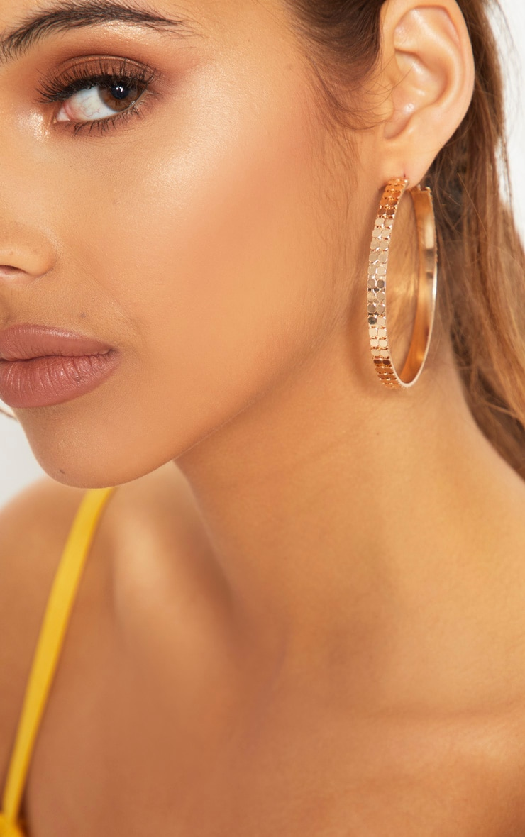 Gold Chain Mail Hoop Earrings 3
