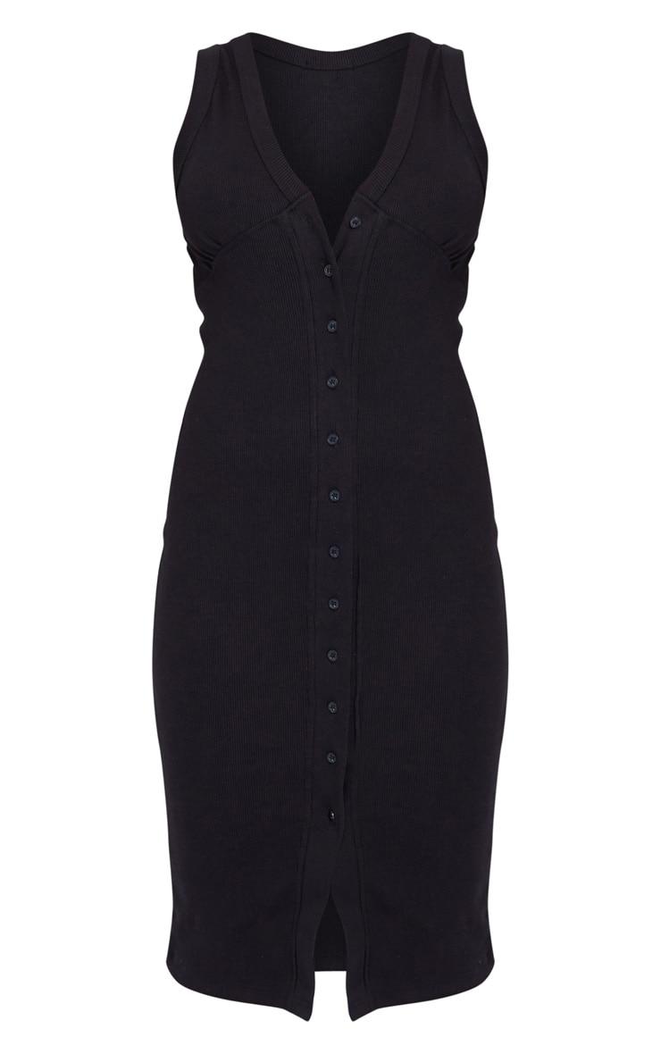Black Thick Rib Cup Detail Button Midi Dress 5