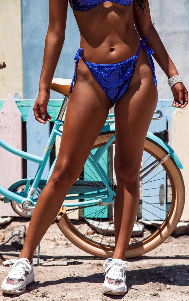 Cobalt Sequin Jewelled Thong Bikini Bottom 6