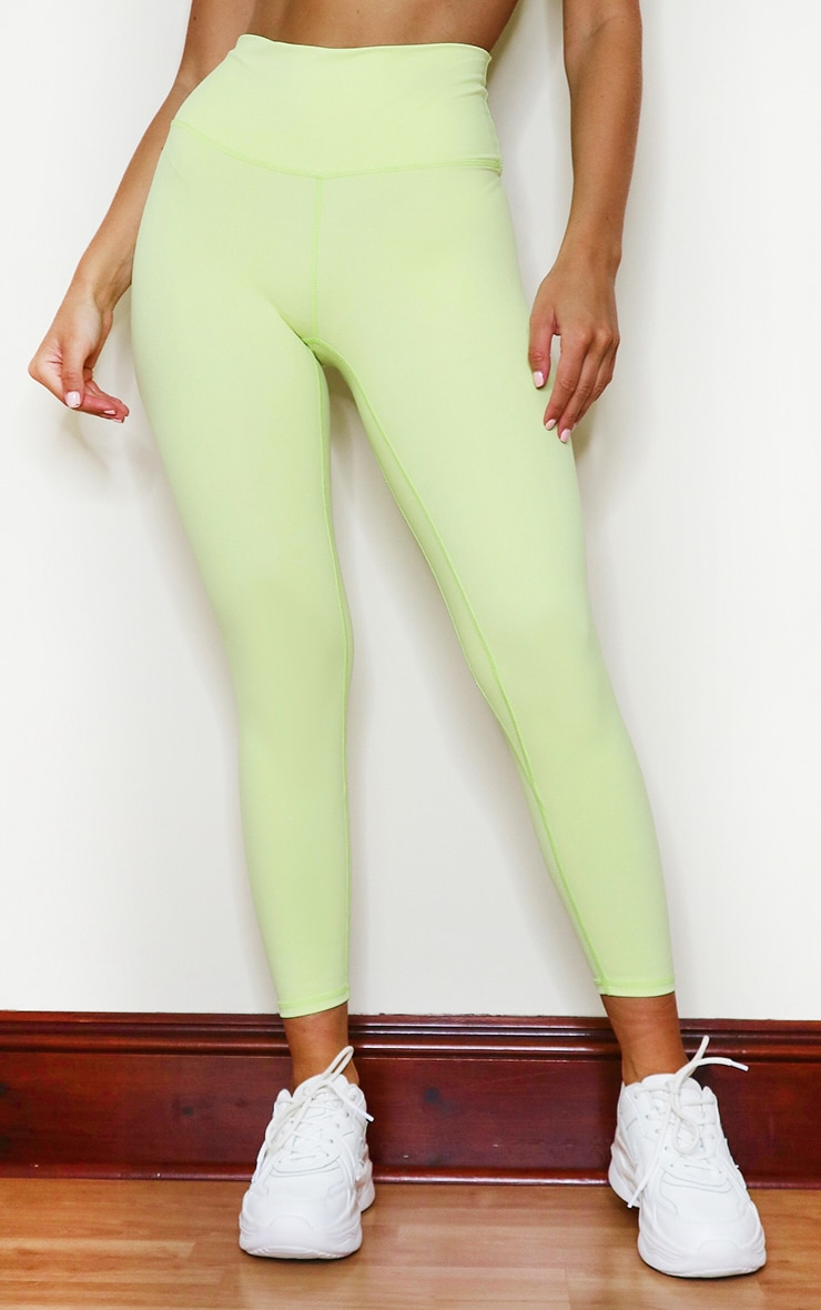 PRETTYLITTLETHING Lime Sports Sculpt Luxe Fabric Cropped Gym Legging 2
