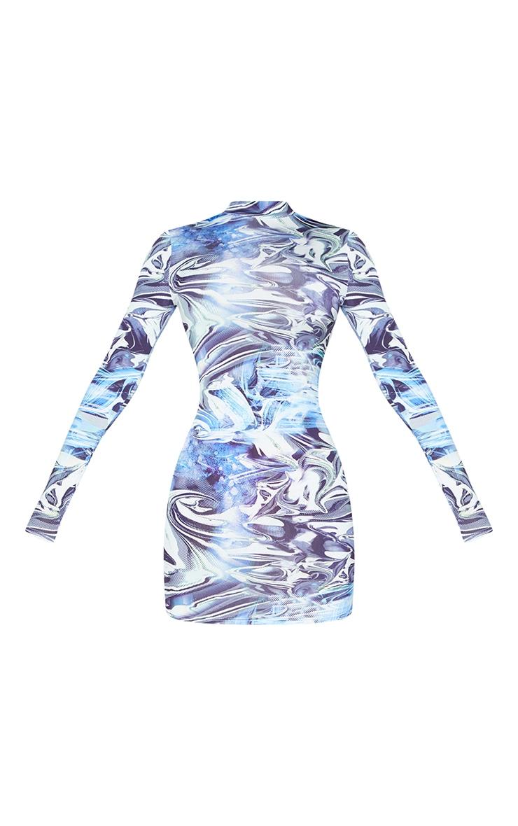 Petite Blue Marble Print Slinky High Neck Long Sleeve Bodycon Dress 5