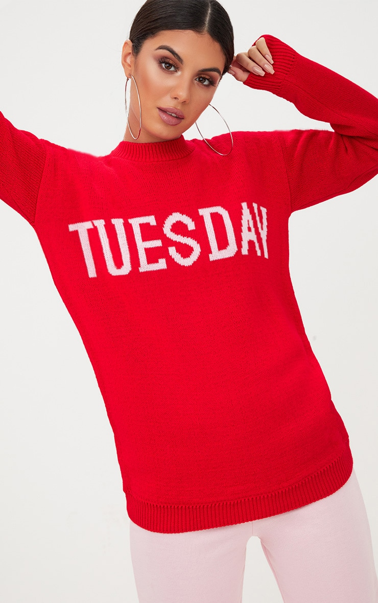 Red Tuesday Slogan Jumper 1