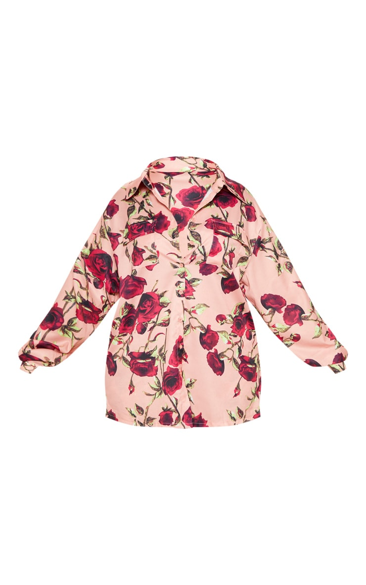 Plus Dusty Pink Rose Printed Pocket Detail Oversized Shirt  3
