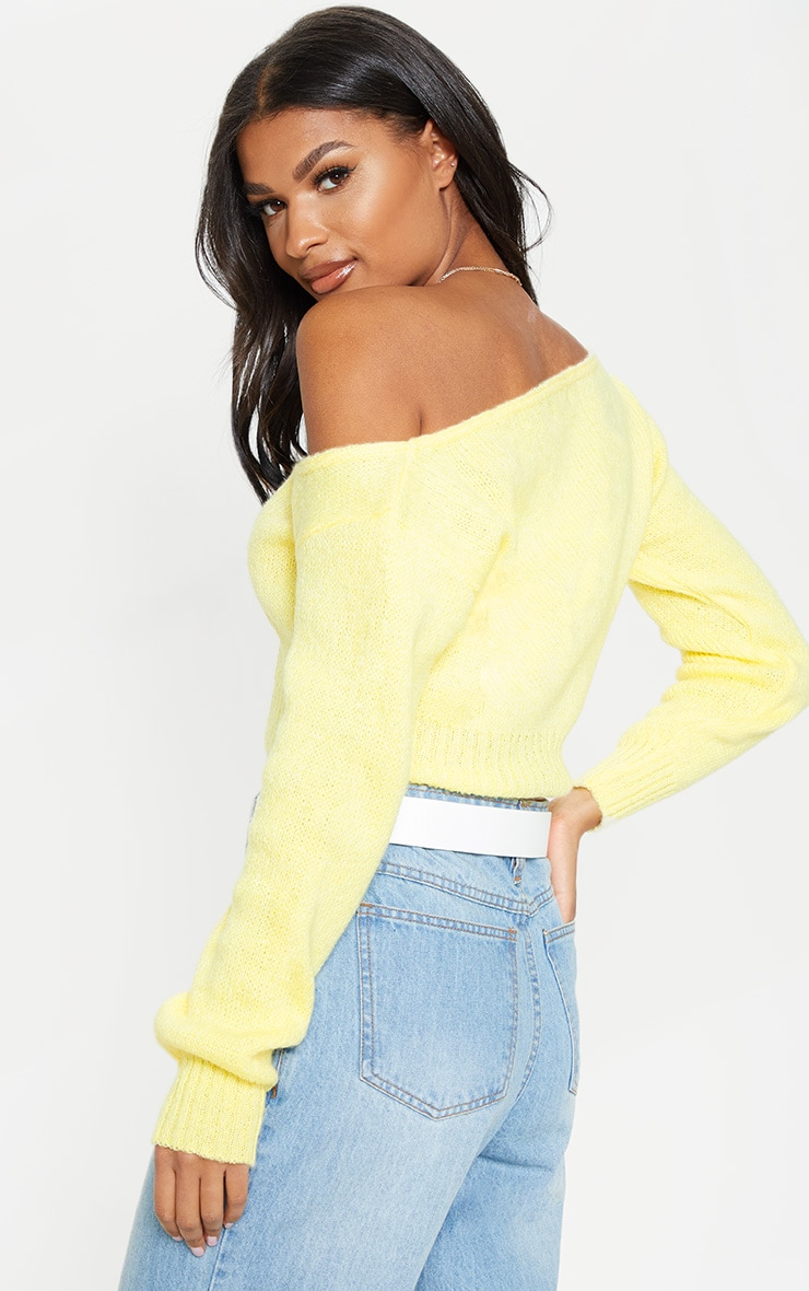 Lemon V Neck Off The Shoulder Soft Knitted Crop Jumper  2