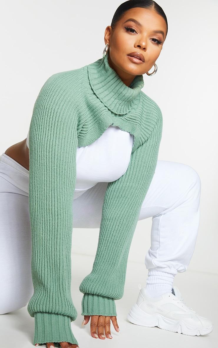 Plus Sage Green Roll Neck Super Crop Knitted Jumper 2