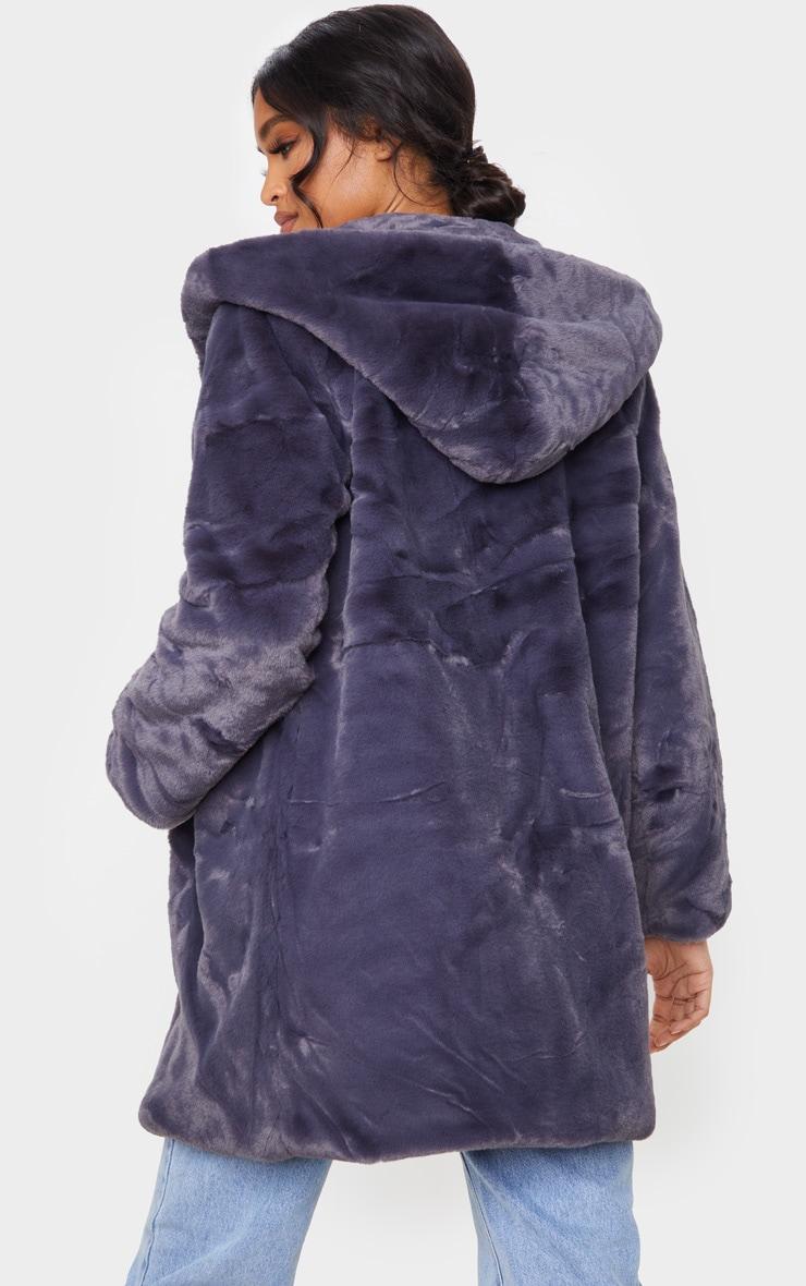 Dark Grey Hooded Faux Fur Midi Coat 2