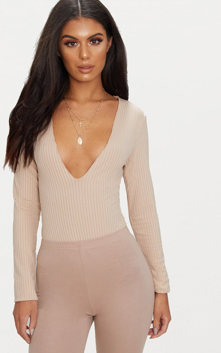 Nude Rib Raw Edge Detail Plunge Thong Bodysuit