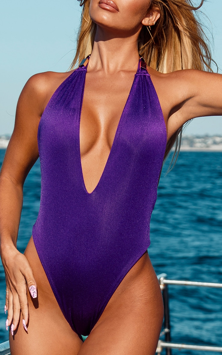 Purple Metal Trim Halterneck Swimsuit 4
