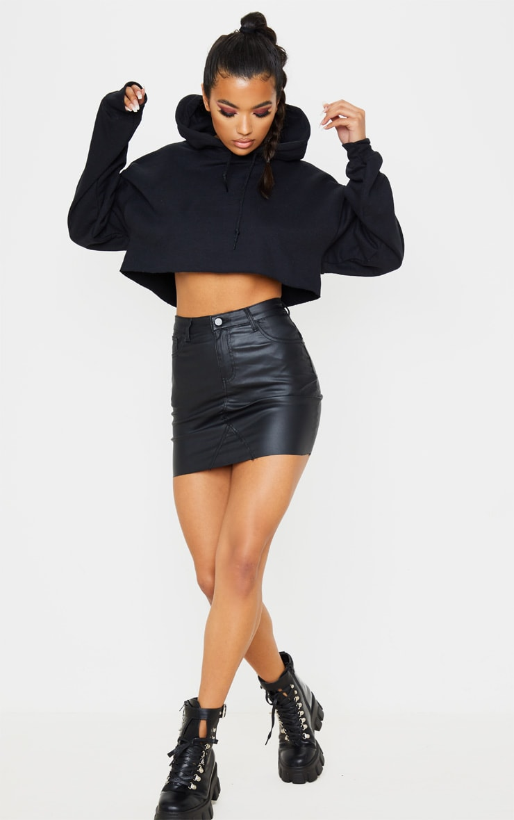 Black Coated Denim Extreme Mini Skirt 5