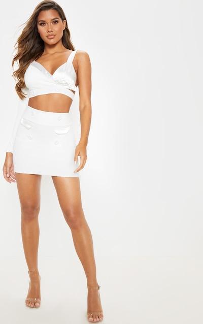 75b052b63bf White High Waisted Button Detail Mini Skirt