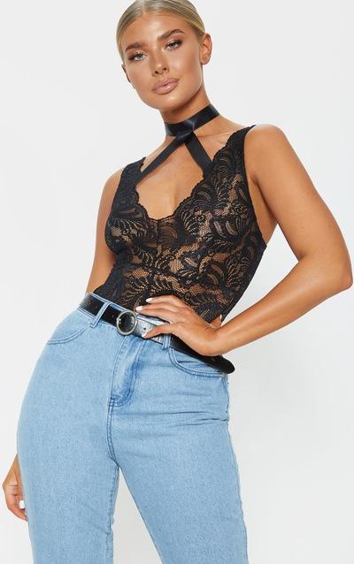 1fe65dcc6c Black Lace Ribbon Detail Bodysuit