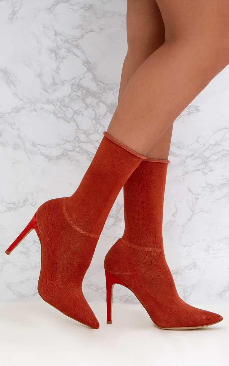 Orange Knitted Sock Boots 1