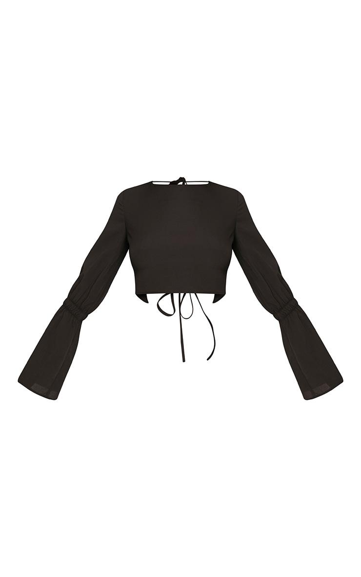 Skye Black Backless Flared Sleeve Blouse  3