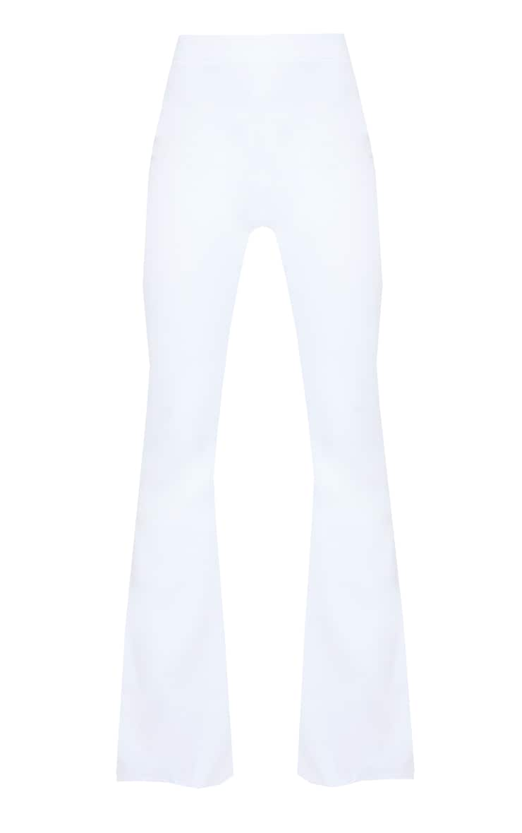 White Woven High Waisted Flare Trousers 5