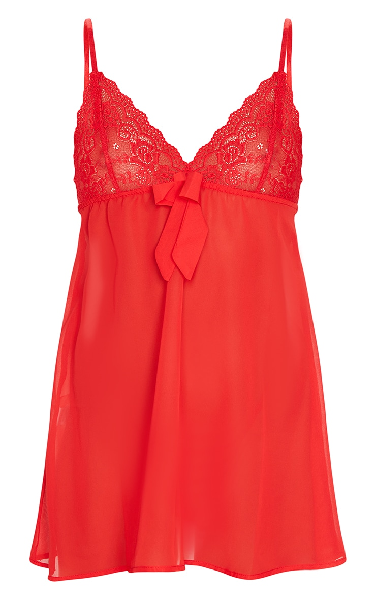 Red Lace Bust Bow Detail Chiffon Babydoll Nightie 5