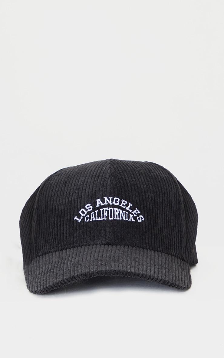 Black Los Angeles Cord Baseball Cap 2