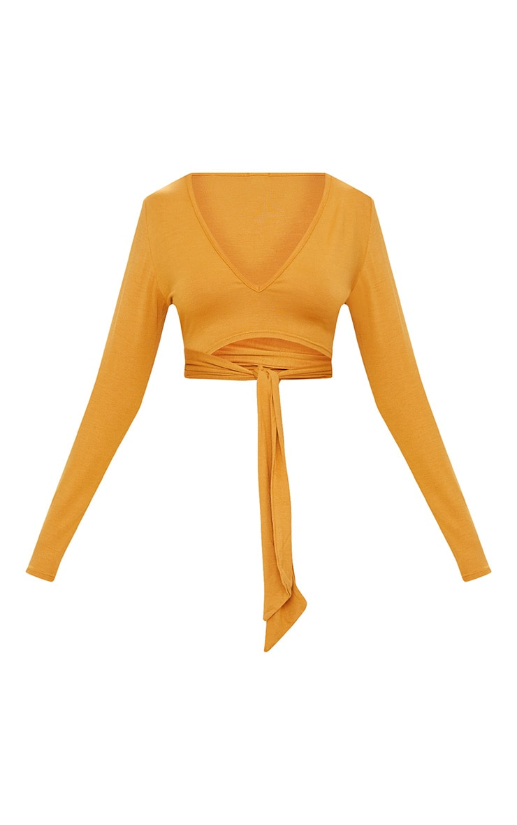 Mustard V Neck Wrap Front Long Sleeve Crop Top  3