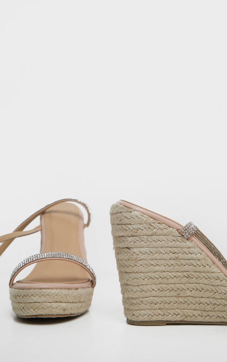 Nude Diamante Lace Up Wedge Sandal 4