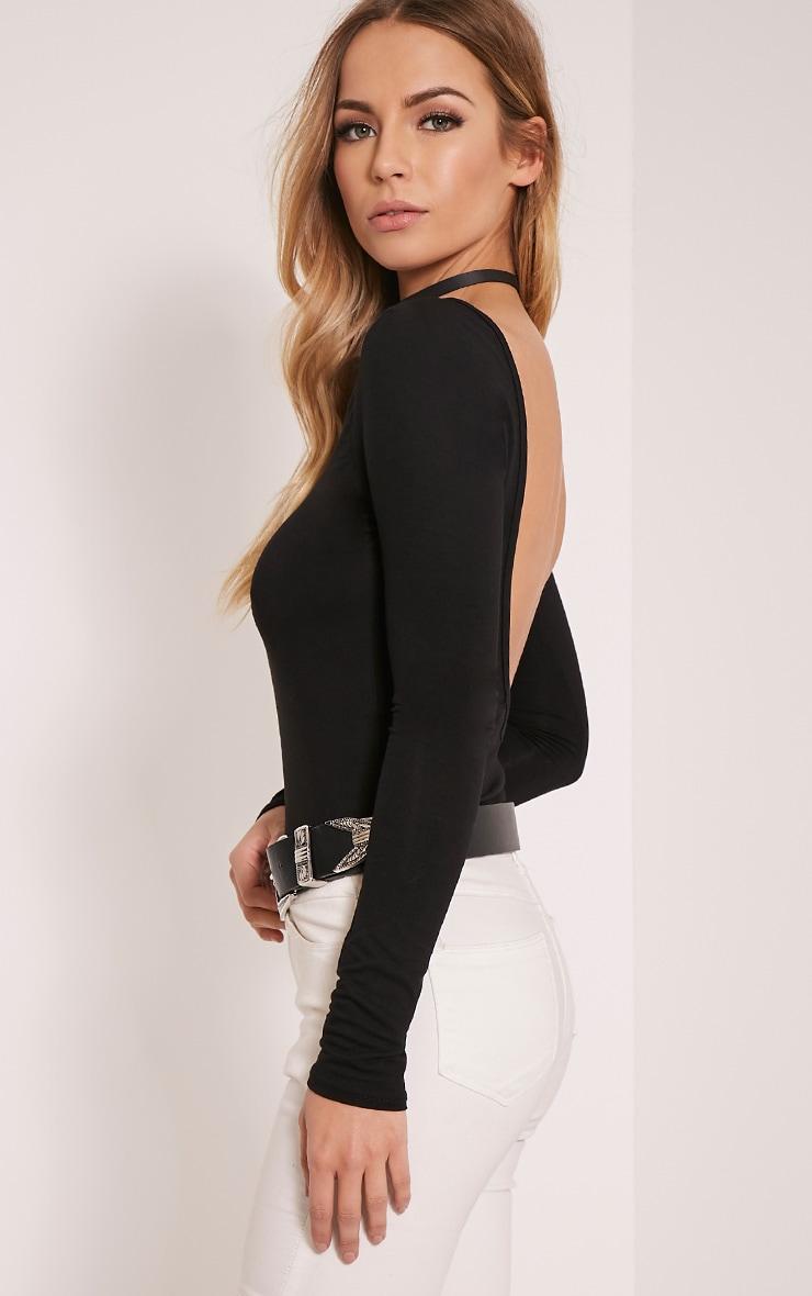 Debra Black V Back Jersey Bodysuit 1