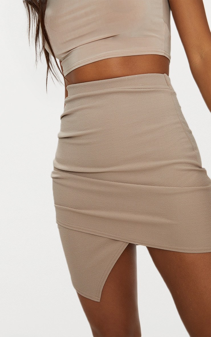 Taupe Ruched Wrap Mini Skirt 7