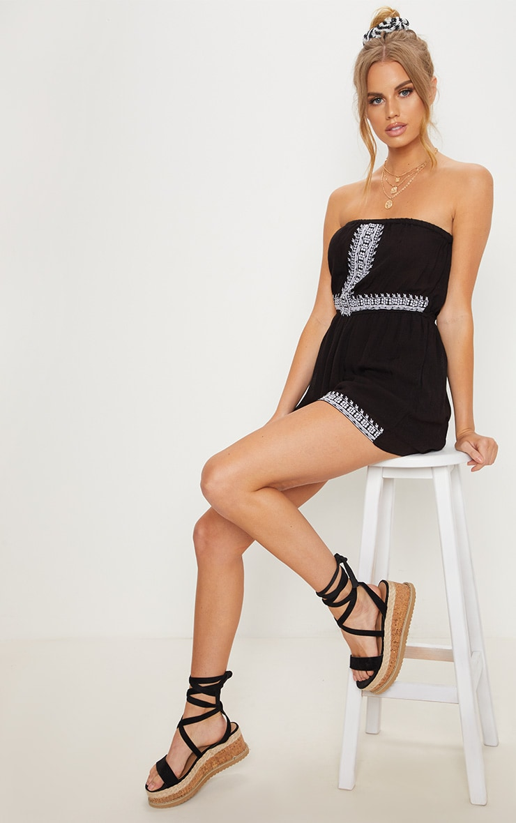 Black Bandeau Embroidered Playsuit 4