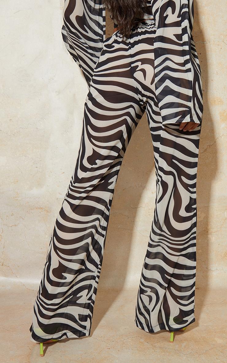 Black Zebra Print Chiffon Elastic Waist Wide Leg Trousers 3