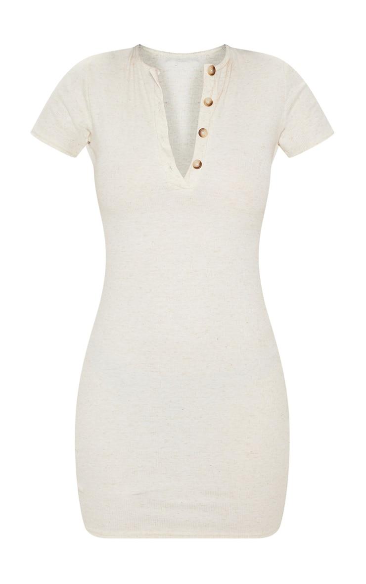 Oatmeal Soft Marl Rib Button Up Short Sleeve Bodycon Dress 3