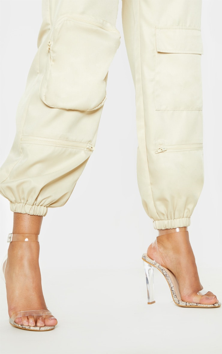 Snake Flat Heel Clear Strap Sandal 1