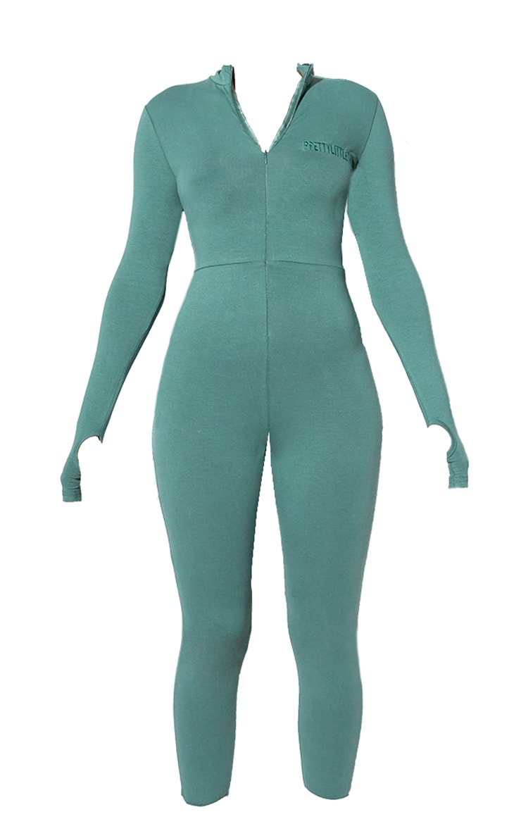 RENEW PRETTYLITTLETHING Green Long Sleeve Catsuit 5