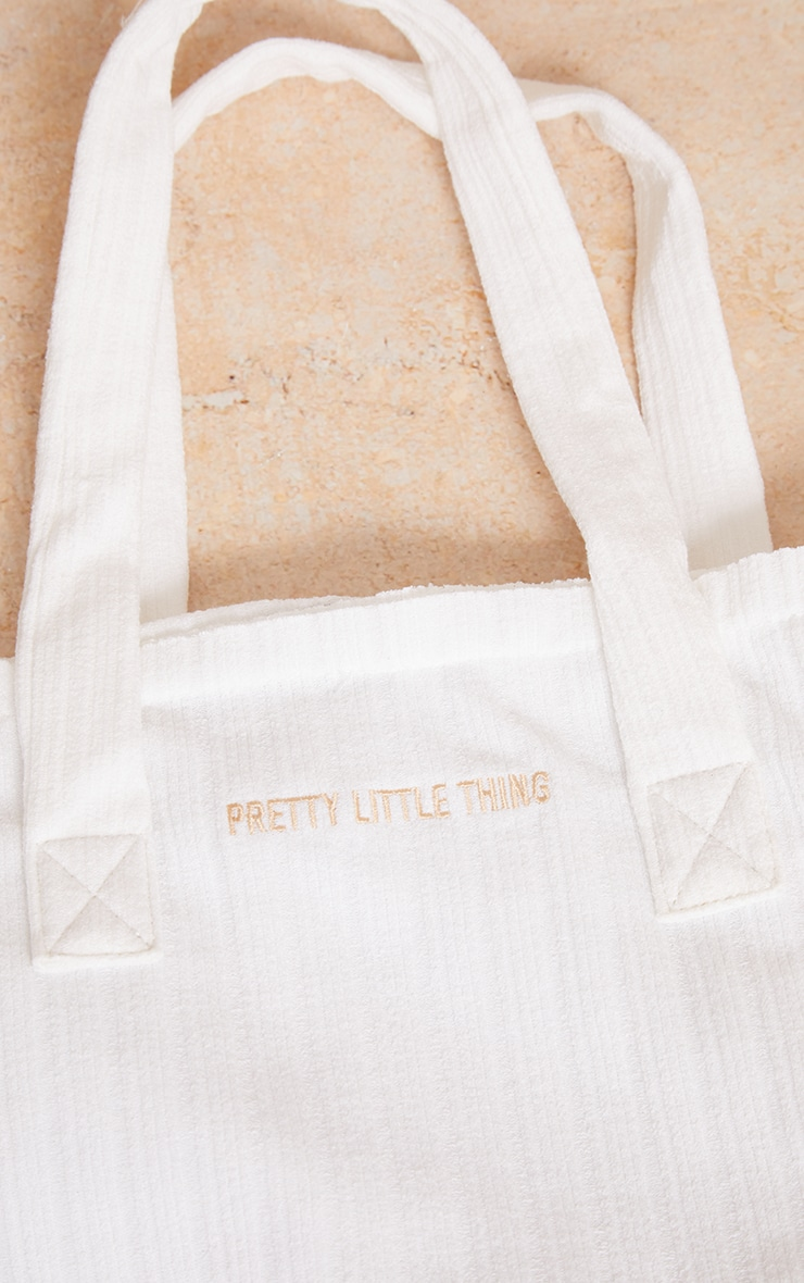 PRETTYLITTLETHING White Ribbed Oversized Tote Bag 3